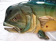 Aquatic Life Reliefs - Wooden Mahi number ten close up by Lisa Ruggiero