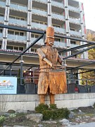 Drum Sculptures - Wooden Man With Drum by Bhupendra Jambhulkar