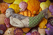 Half Shell Prints - Wooden Mermaid Print by Garry Gay