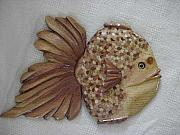 Whimsical Reliefs - Wooden Miss Goldie-SOLD by Lisa Ruggiero