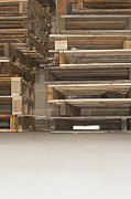 Pallet Framed Prints - Wooden Pallets Stacked Up Framed Print by Shannon Fagan
