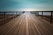 Railing Prints - Wooden Pier Print by Christian Callejas