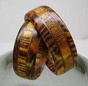 Wood Jewelry - Wooden Ring Bocote And Walnut by Keith Krautle