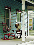 Rocking Chairs Photos - Wooden Rocking Chairs on Porch by Susan Savad