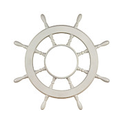 Rack Photo Prints - Wooden Sail Boat Wheel Print by Blink Images