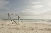 Soccer Goal Framed Prints - Wooden Soccer Net On Beach Framed Print by Bailey