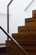 Wooden Stairs Posters - Wooden Staircase Poster by Shannon Fagan
