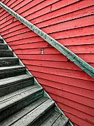 Steps Prints - Wooden Steps Against Colourful Siding Print by Emilio Lovisa