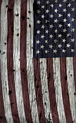 Flag Of Usa Prints - Wooden Textured USA Flag Print by John Stephens