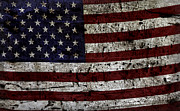 Flag Of Usa Prints - Wooden Textured USA Flag2 Print by John Stephens