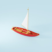 Toy Boat Metal Prints - Wooden Toy Sailing Boat Metal Print by Jon Boyes