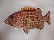 Realistic Reliefs - Wooden Yellowfin Grouper Relief number 2 by Lisa Ruggiero