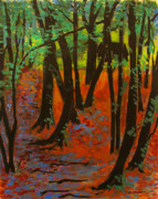 Finger Painting Prints - Woodland at Watkins Glen New York Print by Ethel Vrana