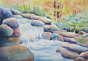 Autumn Trees Painting Posters - Woodland Falls Poster by Deborah Ronglien