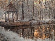 Foilage Prints - Woodland Gazebo Print by Jane Linders
