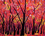 Tree Blossoms Paintings - Woodland Glory by Suzeee Creates