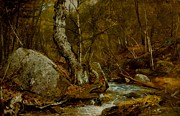 New England Art - Woodland Interior by John Frederick Kensett