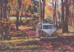 Historic Vehicle Pastels Prints - Woodland Print by Sharon Poulton