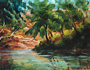 Peaceful Scene Painting Prints - Woodland Stream Print by Ethel Vrana