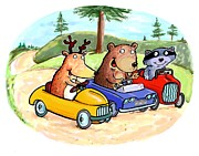 Cartoonist Prints - Woodland Traffic Jam Print by Scott Nelson