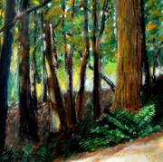 Gold Pastels Posters - Woodland Trail Poster by Michelle Calkins