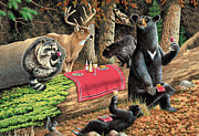 Raccoon Painting Posters - Woodland Wine Tasting Poster by JQ Licensing
