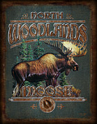 Antlers Metal Prints - Woodlands Moose Metal Print by JQ Licensing