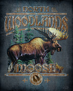 Lodge Painting Prints - Woodlands Moose Sign Print by JQ Licensing