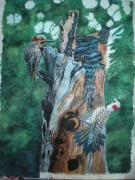 Woodpeckers Paintings - Woodpecker Love Dance by Bhagvati Nath