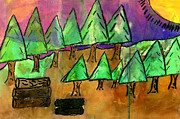 Pine Trees Mixed Media - Woods Cut Logs And A Sunset by Tim Nyberg