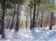 New England Snow Scene Paintings - Woods in Winter by Bivenne Staiger