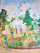 New England Village  Paintings - Woodstock Village Center by Nancy Brennand