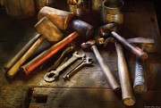 Shop Teacher Prints - Woodworker - A Collection of Hammers  Print by Mike Savad