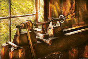 Carpentry Prints - Woodworker - An Old Lathe  Print by Mike Savad