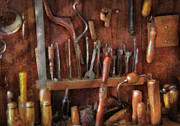 Brown Tones Framed Prints - Woodworker - Old tools Framed Print by Mike Savad