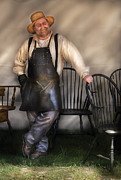 Amish Metal Prints - Woodworker - The Chair Maker  Metal Print by Mike Savad