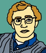 Cute Cartoon Art - Woody Allen by Jera Sky