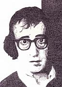 Comics Drawings Posters - Woody Allen Poster by Lynnda Rakos