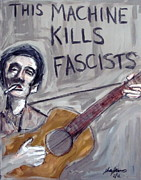 Karl Haglund Metal Prints - Woody Guthrie Metal Print by Karl Haglund