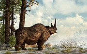 Prehistoric Digital Art Framed Prints - Woolly Rhino Framed Print by Daniel Eskridge