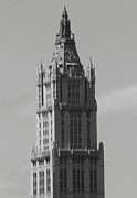 Woolworth Building Framed Prints - Woolworth Building Black and White Framed Print by Christopher Kirby