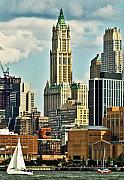 Woolworth Building Framed Prints - Woolworth Building from Hudson River Framed Print by Allan Einhorn