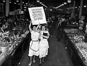 Ev-in Framed Prints - Woolworth Workers Go On Strike In New Framed Print by Everett