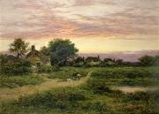 Dog Walking Art - Worcestershire Cottages by Benjamin William Leader