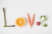 Y120907 Art - Word love Made Out Of Fruits And Vegetables, Studio Shot by Jessica Peterson