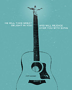 Bible Digital Art Prints - Word Zephaniah Acoustic Print by Jim LePage