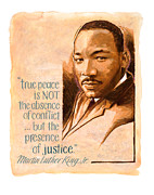 Civil Rights Painting Posters - Words of Peace  Man of Peace  Martin Luther King Jr Poster by Shawn Shea