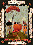Autumn Folk Art Paintings - Words of Wisdom by Catherine Holman