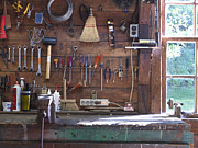 Wood Cutters Prints - Work Bench and Tools Print by Adam Crowley