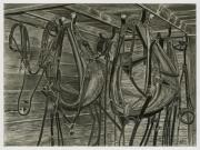 Horse Images Drawings Prints - Work Harness Print by Bryan Baumeister